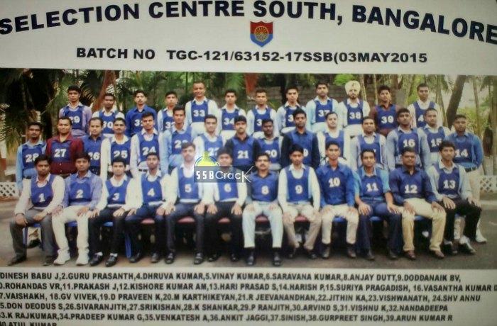 ssb bangalore tgc 121 batch