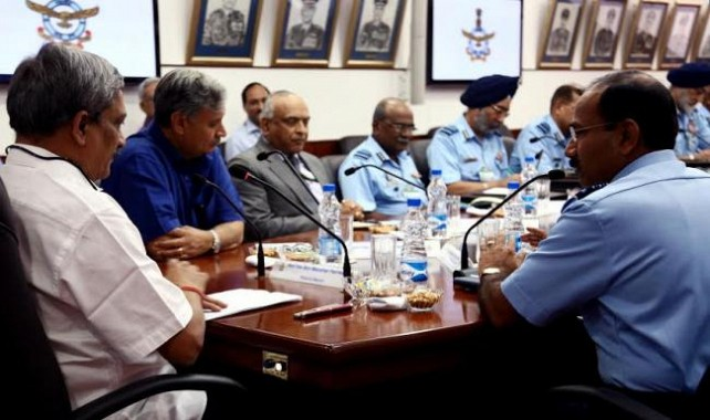 Defence Minister Manohar Parrikar with Air Force