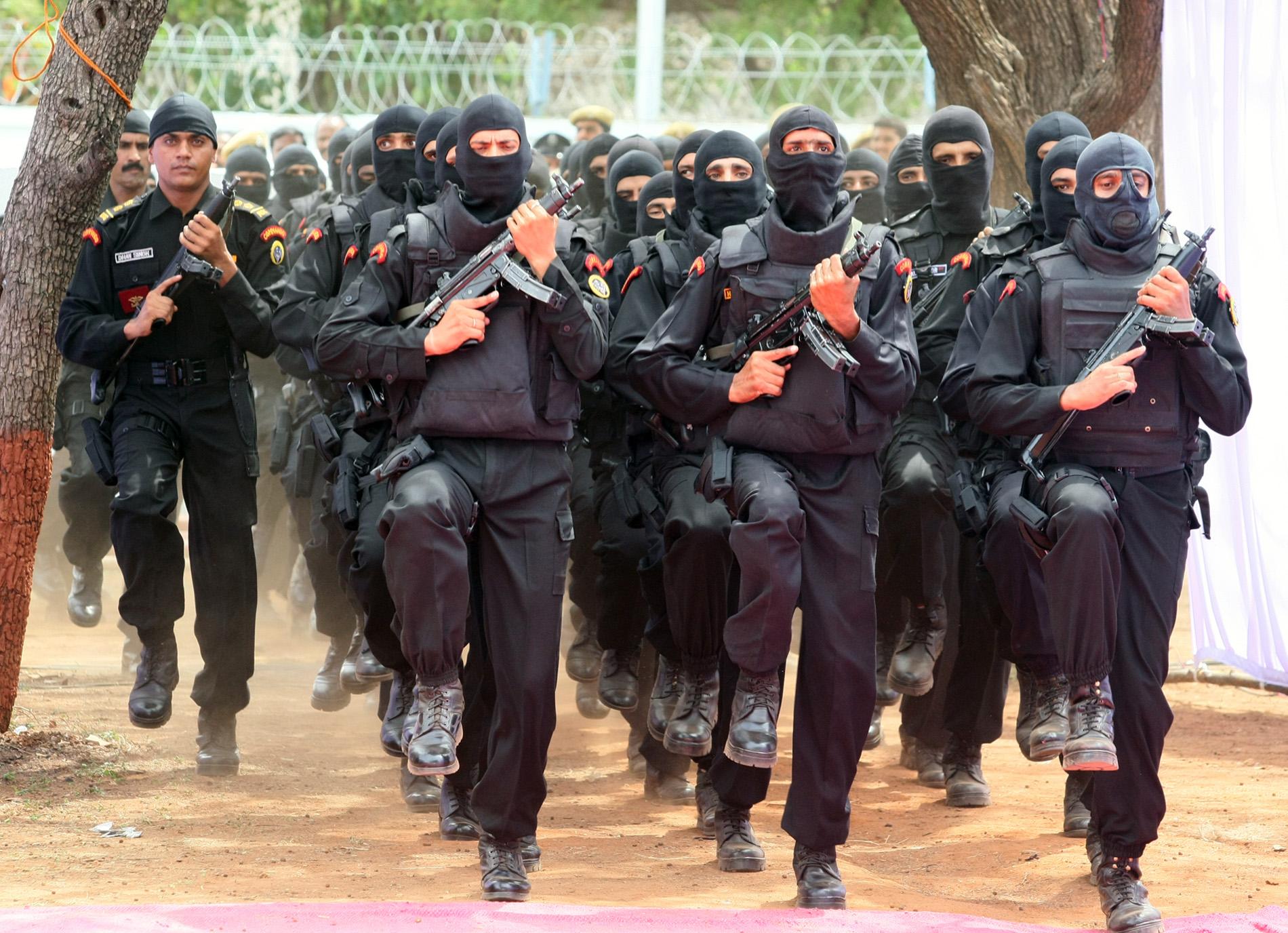 NSG commandos at the inauguration of the 'NSG Hub' at Bowenpally in Hyderabad on July 1, 2009.