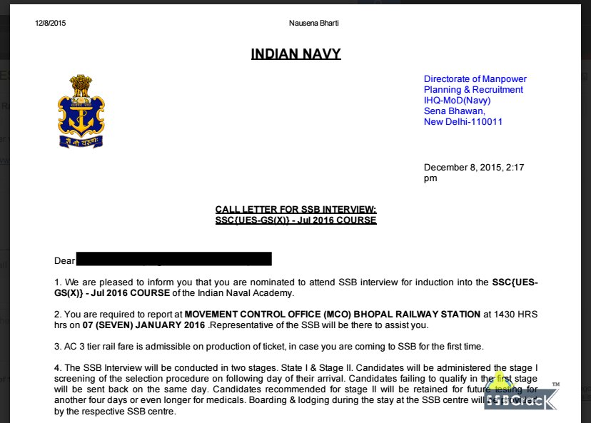 Indian Navy UES Call Letter 2016