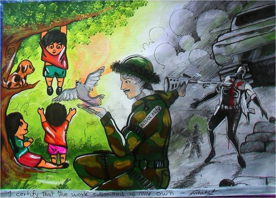 indian army paintings by kids 4 - Cartoon Painting For Kids