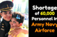 Shortage of 60,000 Personnel In Army Navy Airforce